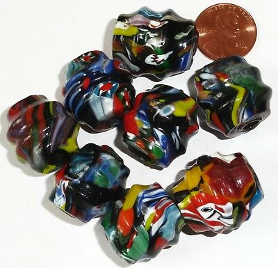 8 Vintage West African Mosaic Glass Trade Beads - Approx. 22mm