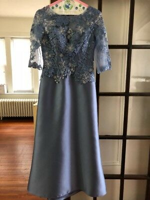 MONTAGE by Mon Cheri Women dress-217955. Color Wedgewood(blue) Size 6 .Worn once
