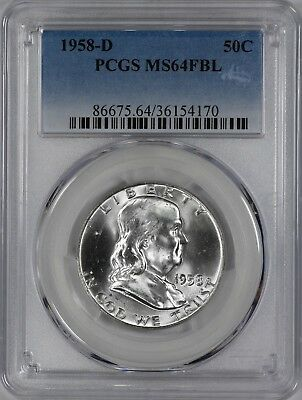 1958 D Franklin Half Dollar 50C Pcgs Certified Ms64Fbl Full Bell Lines Unc (170)