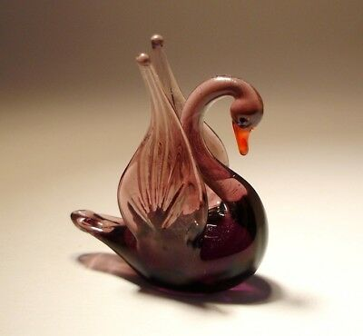 "Blown Glass Figurine ""Murano"" Small Purple Bird SWAN"