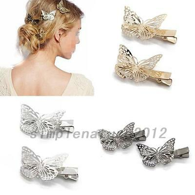 Gold Silver Black Butterfly Hair Clips Hairpins Wedding Barrette Accessories AU