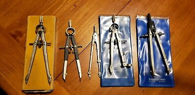 Vintage Compass Lot of 5, Drafting Tools, Lietz Staedtler Dietzgen