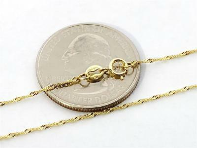 """14K 16"""" Inches 1mm SOLID YELLOW GOLD SINGAPORE SPARKLE ROPE TWIST CHAIN"""