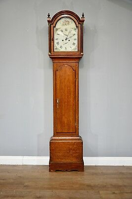 Antique oak grandfather clock by R Fowle East Grinstead