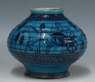 rare PZH glossy and bulbous blue gouda vase Amp Smit w. chariot pattern ca 1930