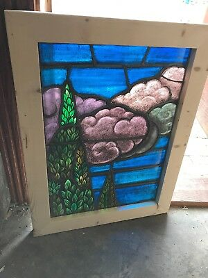 SG 2559 antique painted in fired landscape trees and clouds window 21 x 27.5