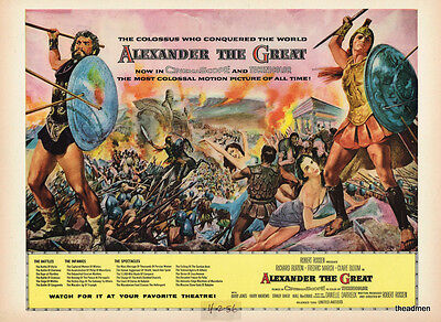 "1956 Richard Burton ""alexander The Great"" Vintage Original Laminated Movie Art"