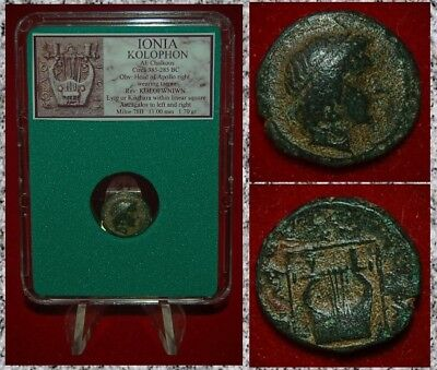 Ancient Greek Coin IONIA KOLOPHON Apollo and Lyre BEAUTIFUL COIN!