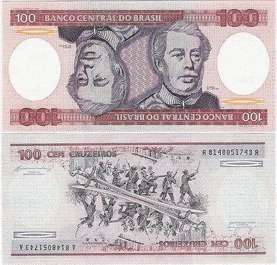 Brazil 100 Cruzeiros 1984 P-198b NEUF UNC Uncirculated Banknote
