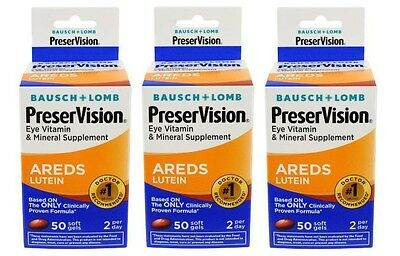 3 Packung - Bausch + Lomb Preservision Augen Vitamin Areds Lutein 50 Kapseln Je