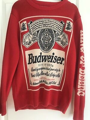vintage lancaster budweiser crewneck ugly christmas sweater men m king of beers