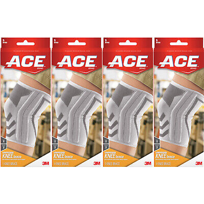 4 Pack - ACE Knitted Knee Brace with Side Stabilizers, Small 1 Each