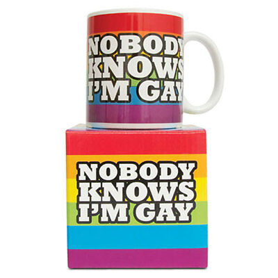 nobody Knows I'm Gay Mug Coffee Tea Cup Stocking Filler Secret Santa Idea