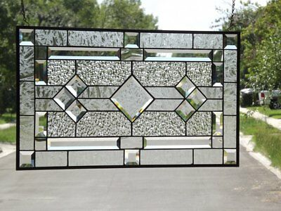 """• Classic Clear Beveled Stained Glass Window Panel•≈ 28 1/2"""" x16 1/2""""(72x42cm)"""