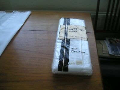 """Pair Of Vintage Unused White Cotton Sheets - Meredith"""" Brand"""" Original Wrapper-"""