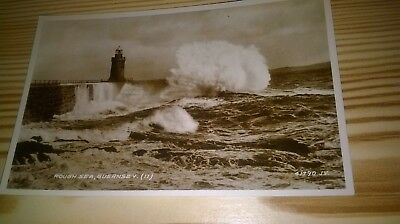 Rough Sea, Guernsey-Valentine's Real Photographic Sepia Postcard