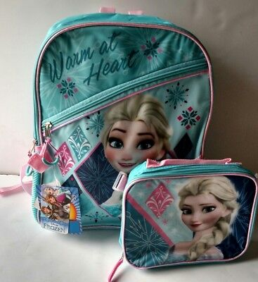 Disney Frozen Elsa  School Backpack Lunch Box Book Bag SET Kids