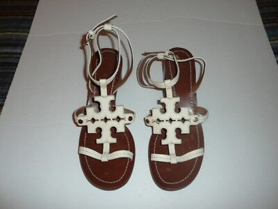 Tory Burch White Leather Designer Logo Sandals Heels Womens 7 1/2 M Ex Condition