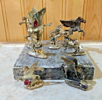 Lot Of Pewter Fantasy Figures  With Crystal Ball Pegasus & Unicorn