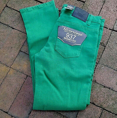 NWT men's Victorious kelly Green 937 Skinny fit denim Jeans 34 X 32 EUC