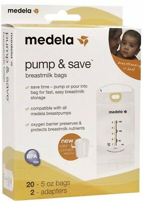 Medela Pump & Save Breastmilk Bags, 20 Count and 2 Adapters BPA FREE  New in Box
