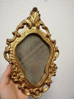 Antique mirror wooden carved and golden nineteenth century 30 x 21 cm mirror