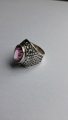 Vintage USSR Ring with Pink Stone Silver 875 star, Size8, (18 mm,) 6.69 grams