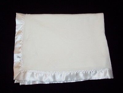 Starting Out White Thermal Satin Trim Baby Blanket 100% Acrylic Security Lovey