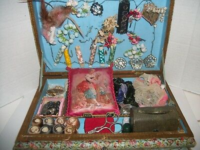 Antique FRENCH Litho Sewing Box FILLED W/ Antique Items SILK LITHO PILLOW!NICE!!