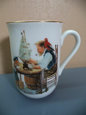 Norman Rockwell Museum White 6 oz Porcelain with Gold Trim Art Mug Japan VGC Wow