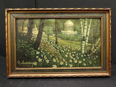 """Antique 19th Century Oil on Canvas Victorian Artist D. ANDRASSY 12""""w x 8""""h TREES"""