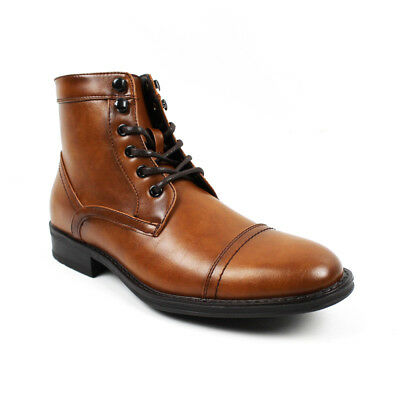 Men's Ankle Dress Boots Cap Toe Lace Up Side Zipper Leather Santino Luciano B743
