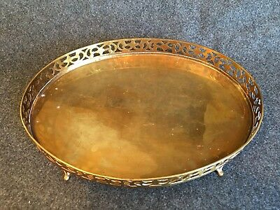 Vintage Oval Brass Tray Vanity with 4 Legs - Beautiful Ornate Edge