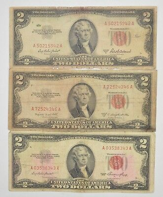 Lot (3) Red Seal $2.00 US 1953 or 1963 Notes - Currency Collection *285