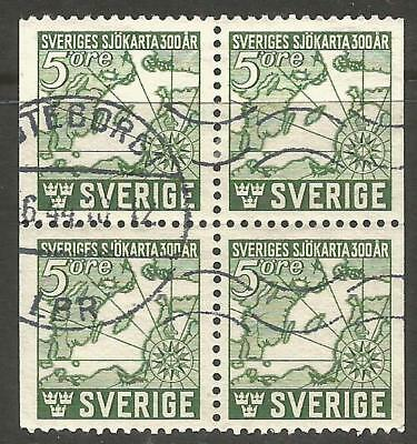 Sweden. Used Block Of Four. Map