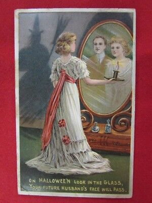 1900's Halloween Postcard Young Lady in Looking Glass with Candle