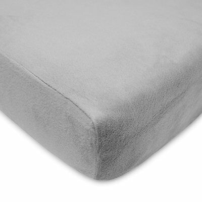 Heavenly Soft Chenille Fitted Crib Sheet for Standard Toddler Mattresses Grey