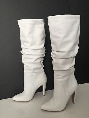 d6a6f7da688 STEVE MADDEN CARRIE White Leather Knee High Slouchy Boots 8