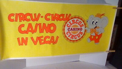 """Vintage poster from Vegas, Circus Circus Casino, 36"""" x 16"""", yellow with colors"""