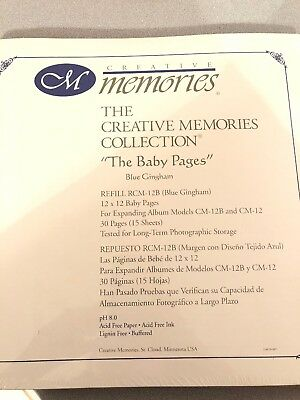 NIP Creative Memories IT'S A BOY Baby Pages Old Style 12x12 Blue Gingham NEW
