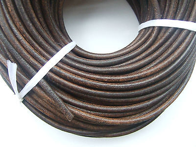 5Meters Dark Antique Bronze 5mm Round Genuine Soft Leather Cord String Lace Rope