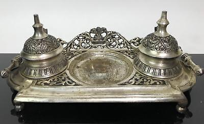 Vintage Silver Tone Ornate 3 Tier Inkwell Writing Caligraphy Desk Plate Tray