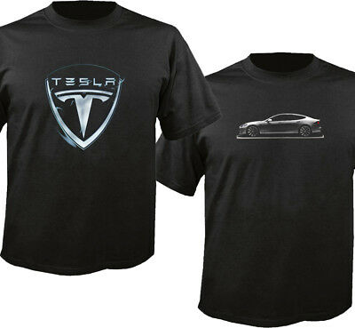 Tesla Electric Car Logo Custom Black T-shirt USA Size Men's