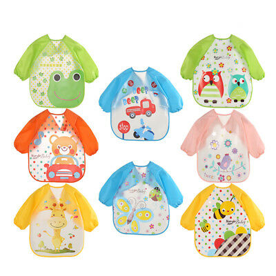Cute Waterproof Long Sleeve Apron Soft Eat Toddler Baberos Bavoir Clothing -WE82