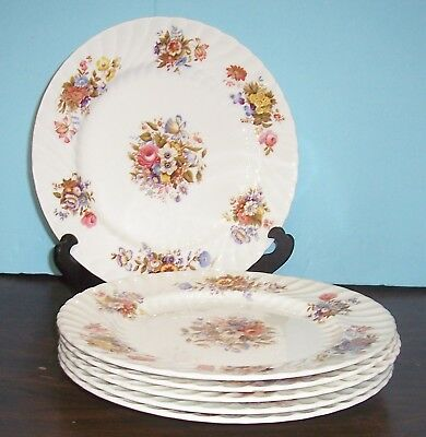 "Lot Of 6 Aynsley Summertime Dinner Plates 10 3/8"" Free U S Shipping Exc. Cond."