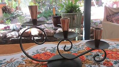 Vintage 60s  Retro Black Metal Work Anodised triple Candle Holder
