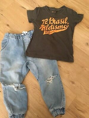 Cotton On Boys Harem Tear Style Jean Sz3 Wth T-shirt