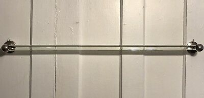 """Antique 36"""" Glass Bathroom Towel Bar W Nickel Plated Ends Architectural Salvage"""