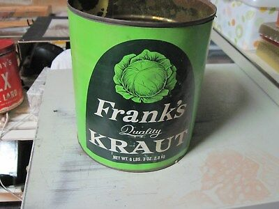 Pre-Owned 6 lbs. 3 oz Frank's Quality Kraut Can. Has paper label & No Lid.