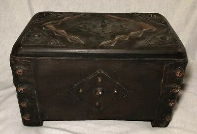 Old Antique Decorative Wooden Box with Tin Or Copper Metal Designs